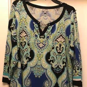Green, black, blue and white blouse